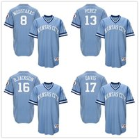 Wholesale 13 Salvador Perez Bo Jackson Wade Davis Kansas City Royals throwback pullover light blue Men Cool Base Jerseys Retro Stitched S XL