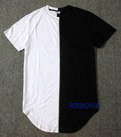 ingrosso vestiti da camicia all'anca-All'ingrosso- Mezzo bianco nero New Designer 2016 Uomo Estate Dress Tee Tshirt Hip Hop Street Fashion T shirt Casual manica corta T-shirt