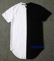 robes décontractées noires à manches courtes achat en gros de-Vente en gros - moitié noir blanc Nouveau Designer 2016 Hommes Robe D'été Tee Tshirt Hip Hop Rue De La Mode T-shirt Casual T-shirt À Manches Courtes