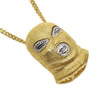 Wholesale Pendant Men Punk Style - Hip Hop CSGO Pendant Necklace Mens Punk Style 18K Alloy Gold Silver Plated Mask Head Charm Pendant High Quality Cuban Link Chain Men jewelry
