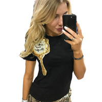 Wholesale Sequin Tops For Women - Raodaren 2017 Women Summer Tops Fashion T-Shirts Clothes for Ladies Sequin Mirror Harajuku Kawaii T Shirt Women's Camisas Tees