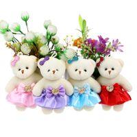 Wholesale Cute Love Teddy - For Christmas Gift Wooden Love Design Plush Toys Dress Cute Mini Model Bear Wedding Home Decoration Accessory Teddy Toys,