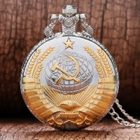Wholesale Golden Chain Watches - Wholesale-Vintage Cool Silver and Golden Soviet Union Symbol Sickle and Hoe Shape Quartz Pocket Watch With Necklace Chain Best Gift