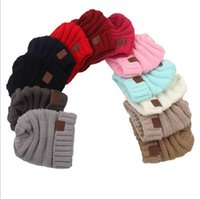 Wholesale Crocheted Skull Baby Beanies - Baby Hats CC Trendy Beanie Cable Slouchy Skull Cap Crochet Fashion Beanies Outdoor Hat Winter Newborn Beanie Children Wool Knitted Caps L11
