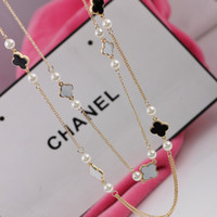 Wholesale Clover Sweater - Popular brand women sweater necklace Clover design long necklace clover jewelry for women and girls sweater chain necklace 6pc lot