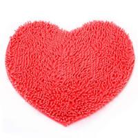 Wholesale Chenille Heart Rugs - Wholesale- New Chenille Love Heart Shape Bedroom Rug Carpet Floor Bath Mat
