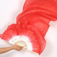 Wholesale Silk Veils For Belly Dancing - 1.8m Rainbow color 100% real Silk Fan Veils nice multi-color mixed long Fan Veil for Belly Dance 5 colors