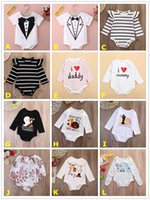 Wholesale Festival Clothes - 2017 Baby Onesies Ins Cute Boy Girl Romper Stripe Flower Solid Color Long Sleeve Brief Halloween Thanksgiving Festival Kid Clothing 0-18 24M