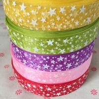 Wholesale Printed Webbing Wholesale - 30yards 25mm printed star organza ribbon DIY webbing packing belt making bows wedding christmas decorations