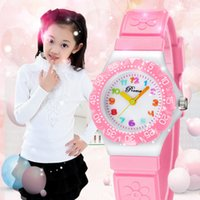 Prema New Cute Watch Waterproof Girl Kid Enfants Montres-bracelets Round Dial Printings Bracelet en cuir Quartz Montre coloré