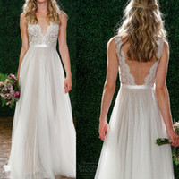 Wholesale Night Dress Bridal - Backless Mermaid Lace Wedding Dresses Deep V-Neck Tassel Cap Sleeve Sweep Train Vintage Bohemia Sexy Bridal Gowns