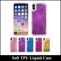 Para Iphone x Soft TPU Bling Bling Liquid Quicksand Phone Case Silicone Diamond Sparkle Quicksand Star Clear Cell Phone Skin Cover