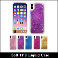 Pour Iphone x Soft TPU Bling Bling Liquid Quicksand Phone Case Silicone Diamond Sparkle Quicksand Star Clear Cell Phone Skin Cover