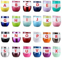 Wholesale Stainless Steel Mug Cup - 9oz Wine glasses Stemless Wine cups Vacuum Insulated mug Stainless Steel with lid egg shape cup 24 color