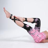 ingrosso i pantaloni di yoga ballano sexy-Pantaloni leggeri delle donne di sport della fasciatura di ballo della fasciatura sottile della stampa della ciliegia dei pantaloni più sottili sexy di yoga di sport per la femmina