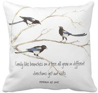 cita la naturaleza al por mayor-Throw Pillow Case Acuarela Magpie Family Quote Animal Nature Square Sofá Cojines Cover,
