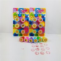 Wholesale Stamper Set Cartoon - 6Pcs Cartoon Seal Stamper Children Emoji Fruit Toy Stamper DIY Diary Decorative Painting Scrapbooking Decoration Party Supplies