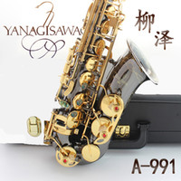 Wholesale Silver Alto Sax - wholesale Professional Japan Yanagisawa Gold Plated Carving Saxophone Alto Eb Sax Brass Instruments Music Saxofone Alto A-991