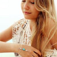 zincir halka bileziği toptan satış-Ünlü Çok Zincir Püskül Bilezik Bileklik Slave mon kız doğum günü hediyesi için Parmak Yüzük El Demeti