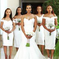 Wholesale White Tea Bridesmaid Dresses - Arabic White Tea Length Bridesmaid Dresses 2017 Lace off the Shoulder Sheath Custom Made Maid of Honor Dress Formal Wedding Guest Gowns