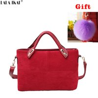Wholesale Wine Bags For Women - Wholesale- Designer Brand Vintage Suede Bags for Woman Fashion Totes Ladies Handbag Women Crossbody Bag Satchels Wine Red BWC0542