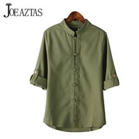 Wholesale Long Mens Pointed Collar Shirts - Wholesale- Chinese style linen shirt mens blouse new big yards 7 points sleeve cotton shirt M-5XL famous brand men shirts MA152