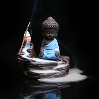 All'ingrosso-decorazione domestica Zen Buddha Censer Ceramica Yixing Aroma Backflow Bastone Incenso bruciatore Viola argilla Kung Fu Monk Incenso Base