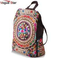 Wholesale Handmade Schoolbag - Wholesale- Vogue Star National canvas embroidery Ethnic backpack women handmade flower Embroidered Travel Bag schoolbag backpacks YK40-991