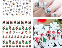 Wholesale Design Santa - 3D Christmas gift design Santa Claus snowman Christmas tree Water Transfer Nails Art Sticker decals nail decal