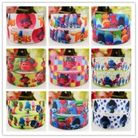 Wholesale Wholesale Webbing Rolls - Trolls Printing Ribbons 0.86inch 22mm Uglydolls cartoon webbing 18m 20yards per roll for garment clothing hair accessories Kids DIY props