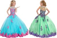 Wholesale Cheapest Kids Party Dresses - In stock Appliques Beads Little Girls Pageant Dresses Handmade Kids Party Ball Gowns Junior Bridesmaid 2017 New Cheapest Christmas Girls