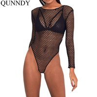 Qunndy Bandage Rompers Женские комбинезоны Ladies Stretchy Black Sexy Bodysuits Women Slim Body Playsuits Party Mesh Tops q170716