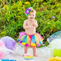 Wholesale Summer Girls Dresses TUTU Dress Tulle Princess Party Dress Colorful Rainbow Skirt Baby Girls Clothes Baby Dresses Children Kids Clothing