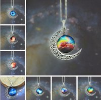 Wholesale starry chain jewelry resale online - New Vintage Starry Moon Outer Space Universe Gemstone Pendant Necklaces Mix Models Jewelry Collarbone Chain Accessories for Christmas Gift