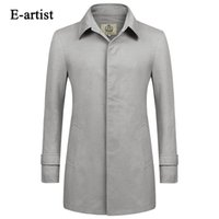 Großhandel-E-Künstler Männer Casual Single Breasted Lange Trench Mäntel Männlich Slim Fit Jacken Windbreaker Outwear Overcoat Plus Size 5XL F09