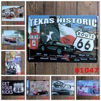 Wholesale Cars Route - Texas Historic Route 66 Motel car Vintage Craft Tin Sign Retro Metal Painting Poster Bar Pub Signs Wall Art Sticker