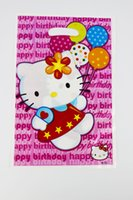 Wholesale Loot Kids Gift Bags - Wholesale- 12pcs Loot Bag for Kids Birthday festival Party Decoration Hello Kitty Theme Party Supplies Candy Bag Shopping Gift Bag