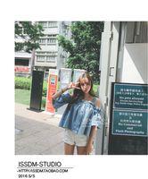 Wholesale Strapless Sleeved Shirt - Apparel 2017 Korean summer new sexy Strapless Collar Short Sleeved Cotton Denim Clothes Sling T-shirt Sweet