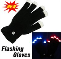 Wholesale Led Rave Gloves Wholesale - 50 pair Free Shipping Flash color change LED glove Rave light led finger light glove light glove party favorite concert YYA566