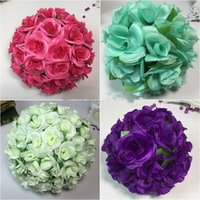 Wholesale Satin Kissing Balls - 4.7 inch (12CM) Artificial Rose Satin Pomander Kissing Balls for Home Wall Wedding Party Ceremony Home Decoration Kissing Ball