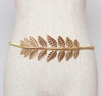 Wholesale Elastic Chain Belt - Wholesale- Original Luxury Gold Cluster Leaf Belt for women Gold and Silver elastic metal chain belt smart delsign for most waist