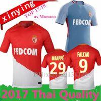 Wholesale Top Green Soccer Jerseys - Top thailand 2017 2018 as Monaco home soccer Jerseys 17 18 MOUTINHO MBAPPE FALCAO BERNARDO DIRAR Shirt Monaco Away football jersey