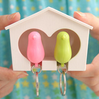 Sparrow Bird House Nest Whistle Key Holder Chain Ring Titular de chaveiro em caixa atacado