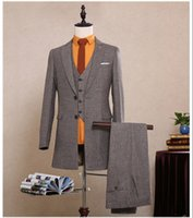 Wholesale Long Coats For Men Images - Korea Sytle Customized 2017 Hot Grey Tweed Herringbone Long Jacket Blazer Man Suit ( Coat+Pants+Vest) XH005 Tailored Slim Fit Suits For Men
