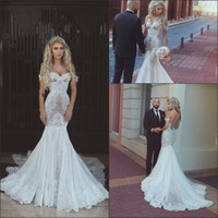 Wholesale Designer White Ivory Chiffon Beach - Sexy Mermaid Wedding Dresses 2018 New Off the Shoulder with Lace Appliques Cheap Bridal Gowns Arabic Dubai Vestido De Novia Custom