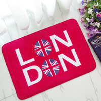 Wholesale Fashion Flannel Bath Mat London England Style Mats Anti slip Rectangle Doormats Bathroom Bedroom Carpet Super Soft Floor Door Mat cm