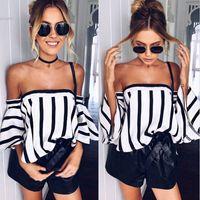 Wholesale Womens Lycra T Shirts - 2017 Desinger womens tops blouse Casual Slash Neck Off the Shoulder Striped Zipper Sexy t shirt