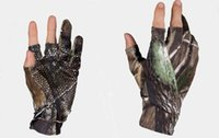 Wholesale Super elastic three fingers out fishing gloves forest camouflage palm no slip sports gloves M L XL