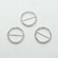 hebillas de cinta de metal al por mayor-Precio de fábrica 100 unids DIA 25 mm hebilla de diamantes de imitación redondo para invitaciones de boda Ribbon Sliders DIY