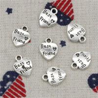 Wholesale Making Friends - 176pcs Charms heart best friend 12*10mm Antique Silver Pendant Zinc Alloy Jewelry DIY Hand Made Bracelet Necklace Fitting